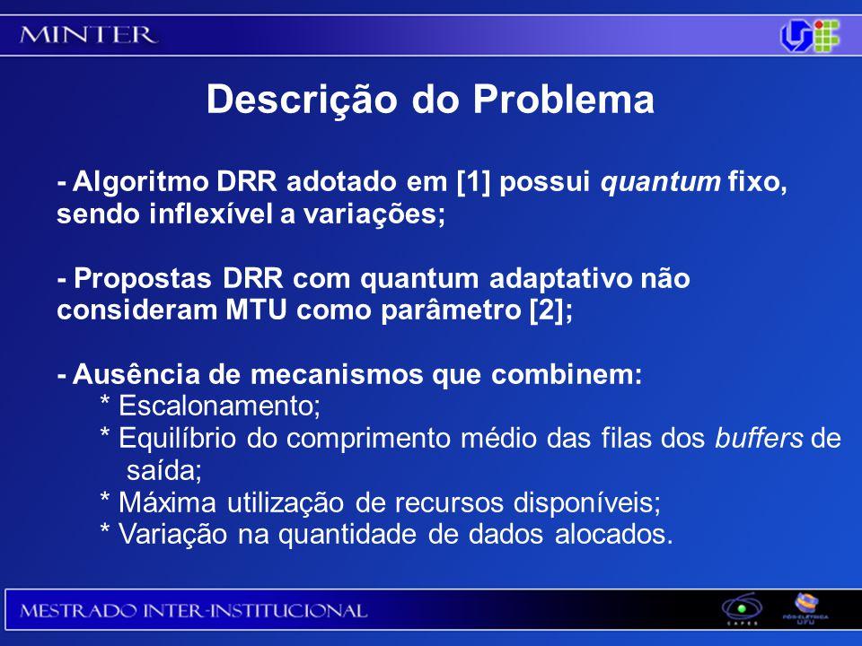 Descrição do Problema - Algoritmo DRR adotado em [1] possui quantum fixo, sendo inflexível a variações;